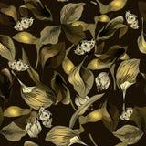 Nahtloses Muster mit Blättern und Schmetterling Stockbilder
