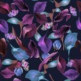 Nahtloses Muster mit Blättern und Schmetterling Stockbild