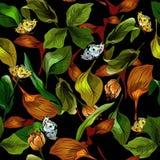 Nahtloses Muster mit Blättern und Schmetterling Stockfoto