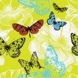 Nahtloses Muster mit blühenden Rosen und fliegenden BU Stockfotos