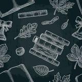 Nahtloses Muster mit Blatt, Buch und Glocke Vektorstich Lizenzfreies Stockbild