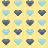 Nahtloses Muster mit Blau- und Minzenherzen auf einem Gelb Lizenzfreies Stockbild