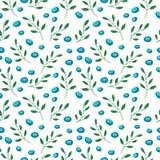 Nahtloses Muster mit Blaubeeren und Blättern Stockfotografie