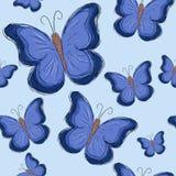 Nahtloses Muster mit blauem Schmetterling Lizenzfreies Stockfoto