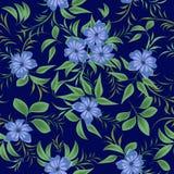 Nahtloses Muster mit blauen Blumen Stockbild