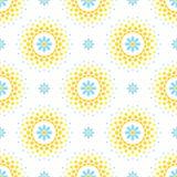 Nahtloses Muster mit blauen Blumen und orange und gelber Halbtonkreisrahmen auf weißem Hintergrund Stockfoto