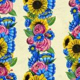 Nahtloses Muster mit blauen gelben und rosa Blumen Stockfotos