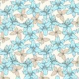 Nahtloses Muster mit blauen Lilienblumen und -schmetterlingen Von Hand gezeichnete Tiefenlinien Vervollkommnen Sie für Hintergrun Stockfotos