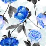 Nahtloses Muster mit blauen Pfingstrosen, Blätter Lizenzfreies Stockfoto