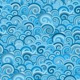 Nahtloses Muster mit blauen Wellen stockfoto
