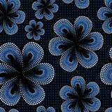 Nahtloses Muster mit blauer tiare Blume Punkte, schwärmerisch verehrtes Muster Monoi-Blume Schwarzer Hintergrund Lizenzfreie Stockfotografie