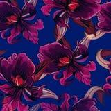 Nahtloses Muster mit Blumen auf Blau Stockbilder