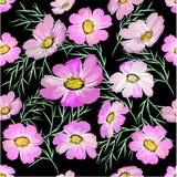 Nahtloses Muster mit Blumen auf schwarzem Hintergrund Lizenzfreie Stockfotografie