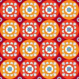 Nahtloses Muster mit Blumen in den roten und orange Kreisen Stockfotos