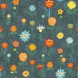 Nahtloses Muster mit Blumen und Blättern Stockfoto