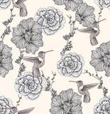 Nahtloses Muster mit Blumen und Vögeln Stockfoto