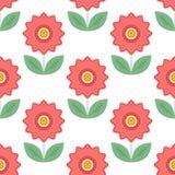 Nahtloses Muster mit Blumenelementen Rote Blumen mit Blättern Lizenzfreies Stockbild