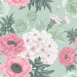 Nahtloses Muster mit Blumenrosen, Pfingstrosen, Hortensien Lizenzfreies Stockfoto
