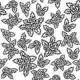 Nahtloses Muster mit Blumensträußen von Rosen auf einem weißen Hintergrund Schwarzweiss-Farbe Handzeichnungen stock abbildung