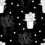 Nahtloses Muster mit Blumenstrauß von Tulpen in einer Schale und in den Tupfen Stockbilder