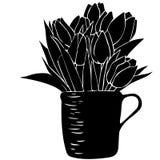 Nahtloses Muster mit Blumenstrauß von Tulpen in einer Schale und in den Tupfen Lizenzfreies Stockbild