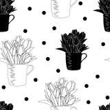 Nahtloses Muster mit Blumenstrauß von Tulpen in einer Schale und in den Tupfen Stockfoto