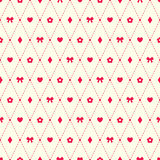 Nahtloses Muster mit Bogen-, Blumen-, Herz- und argyleelementen Stockfotografie