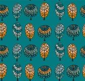 Nahtloses Muster mit botanischer Beschaffenheit in der Gekritzelart Stockbilder