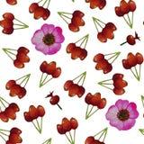 Nahtloses Muster mit Brier, wilde rosafarbene Blumen, Hagebuttefrucht vektor abbildung