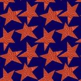 Nahtloses Muster mit Bronzesternen auf einem blauen Hintergrund lizenzfreie abbildung