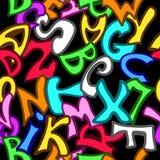 Nahtloses Muster mit Buchstaben in der Graffitiart Stockbild