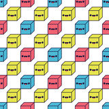 Nahtloses Muster mit bunte Würfel Glückliche lächelnde Karikaturwürfel für Babygewebe vektor abbildung