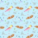 Nahtloses Muster mit buntem Vogel, Nest und Niederlassungen vektor abbildung