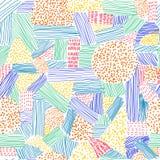 Nahtloses Muster mit bunten Anschlägen und Punkten auf dem weißen Hintergrund Lizenzfreie Stockfotografie