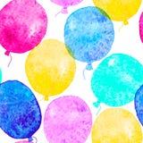 Nahtloses Muster mit bunten Aquarellballonen Lizenzfreies Stockfoto