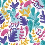 Nahtloses Muster mit bunten fantastischen Blättern in der flachen Art Lizenzfreie Stockfotografie