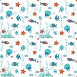 Nahtloses Muster mit bunten Fischen Stockfoto