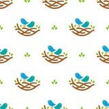 Nahtloses Muster mit bunten Gesangvögeln im Nest in der minimalistic Art auf weißem Hintergrund Stockfotos