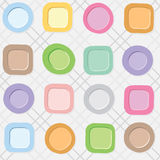 Nahtloses Muster mit bunten Platten auf einem karierten weißen Hintergrund Lizenzfreie Stockfotografie