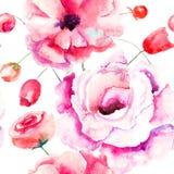 Nahtloses Muster mit bunten rosa Blumen Stockfotos