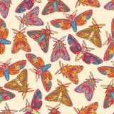Nahtloses Muster mit bunten Schmetterlingen oder Motten Lizenzfreie Stockfotografie