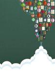 Nahtloses Muster mit bunten Schulikonen auf Hintergrund Lizenzfreie Stockbilder