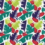 Nahtloses Muster mit bunten tropischen Blättern in der flachen Art Lizenzfreie Stockbilder