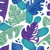 Nahtloses Muster mit bunten tropischen Blättern in der flachen Art Stockfoto