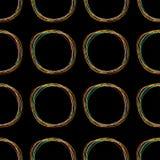 Nahtloses Muster mit bunter Linie Gekritzelkreis punktiert geometrische abstrakte Beschaffenheit Schwarzer Hintergrund Getrennt F lizenzfreie abbildung