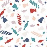 Nahtloses Muster mit bunter Süßigkeit Süßigkeit für Halloween-Partei Stockfoto