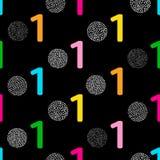 Nahtloses Muster mit bunter Ziffer eine und Kreise auf dem schwarzen Hintergrund stock abbildung