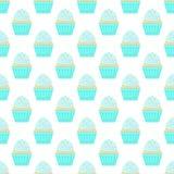 Nahtloses Muster mit capcakes auf einem weißen Hintergrund Vektor stock abbildung