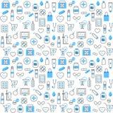 Nahtloses Muster mit Chemikern und Apotheken-Ikonen Stockbild
