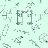 Nahtloses Muster mit Chip und elektronischen Elementen Lizenzfreies Stockfoto